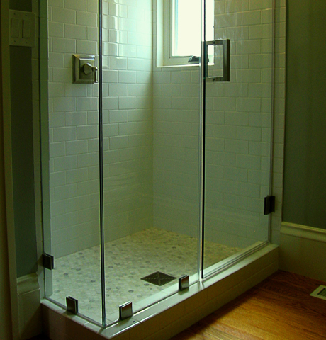 subway tile and clear glass