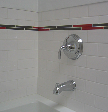 white subway tile with color trim