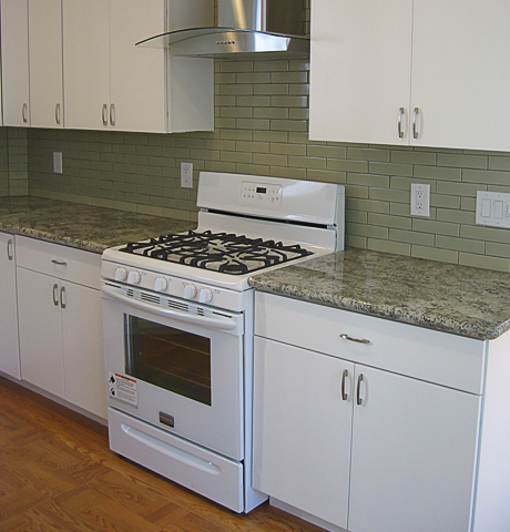 granite with tiled back splash