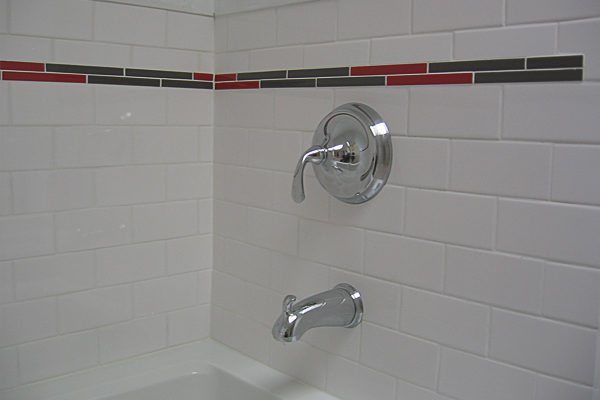 White Tiles With Color Trim
